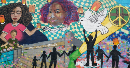 Artists: Dude Panteado, Catherine Hart & Jersey City Summer Works Fine Are Students (2017). The artists wanted to express enter into their innermost world of emotions & thoughts about the human toll taken by gun violence.
