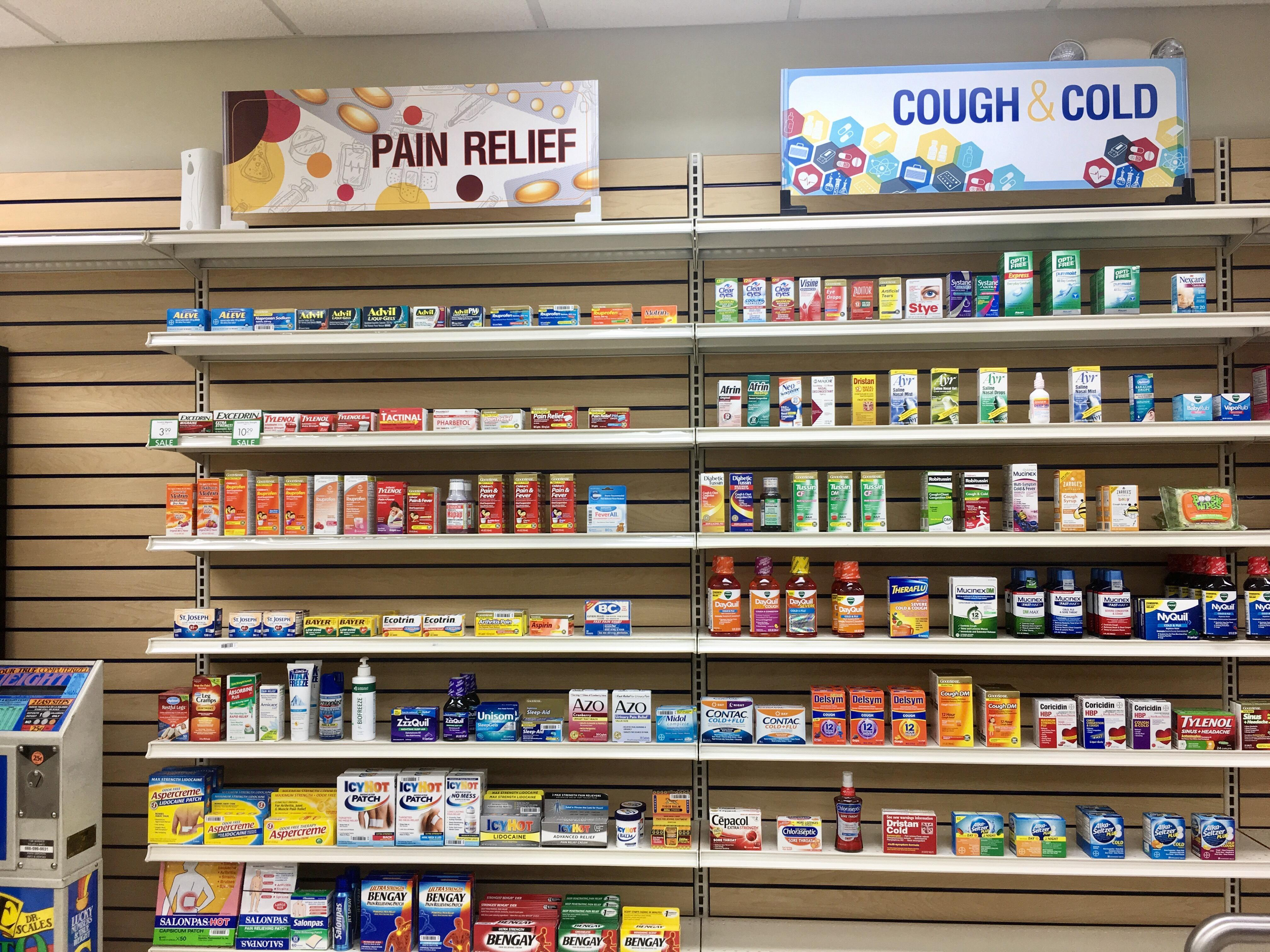 Full line of Vitamins and Pain Relief