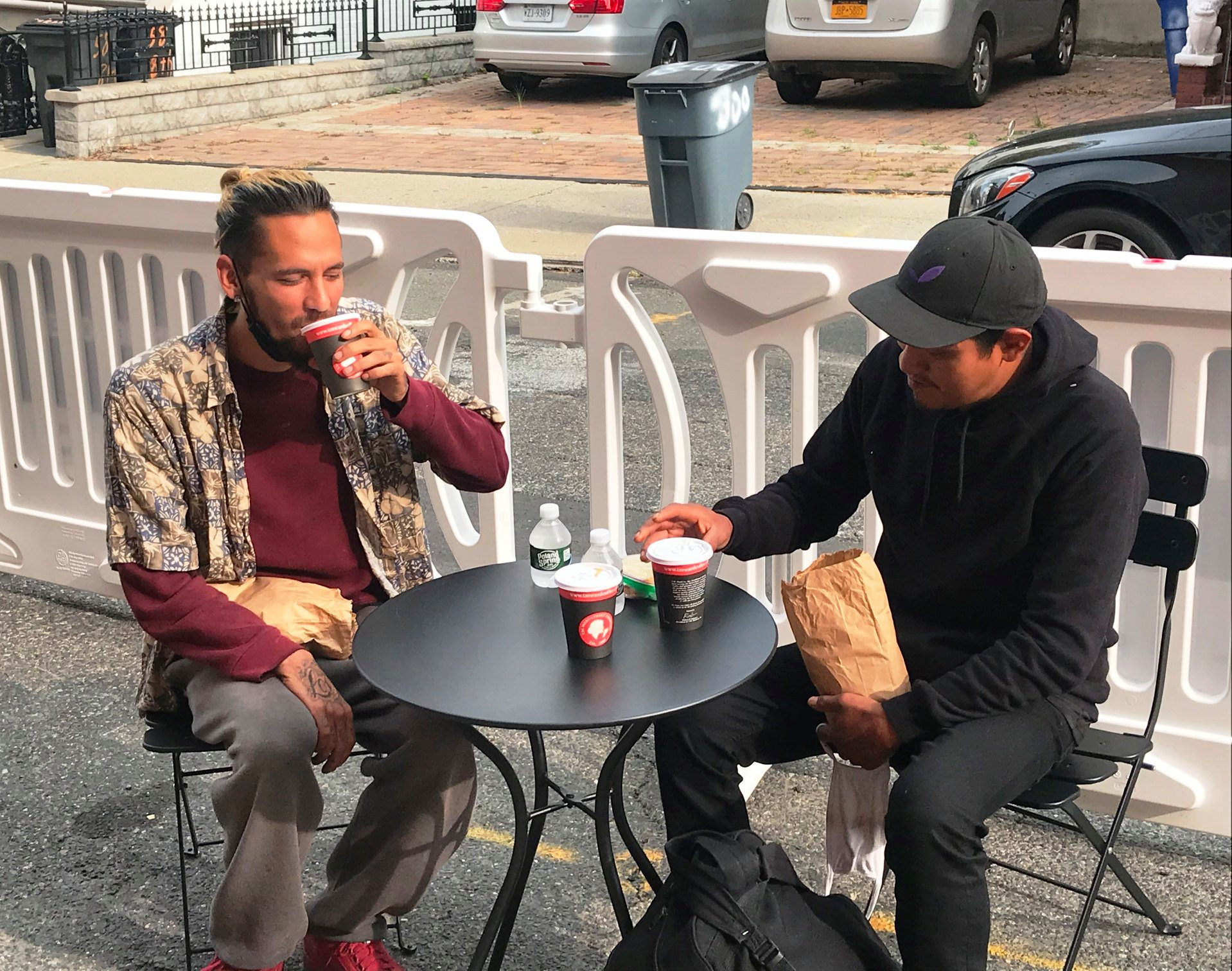 Guests enjoy coffee at our strEATery, a pandemic improvisation: outdoor tables where people can enjoy a meal and a cup of coffee, spend time with friends, or just relax.