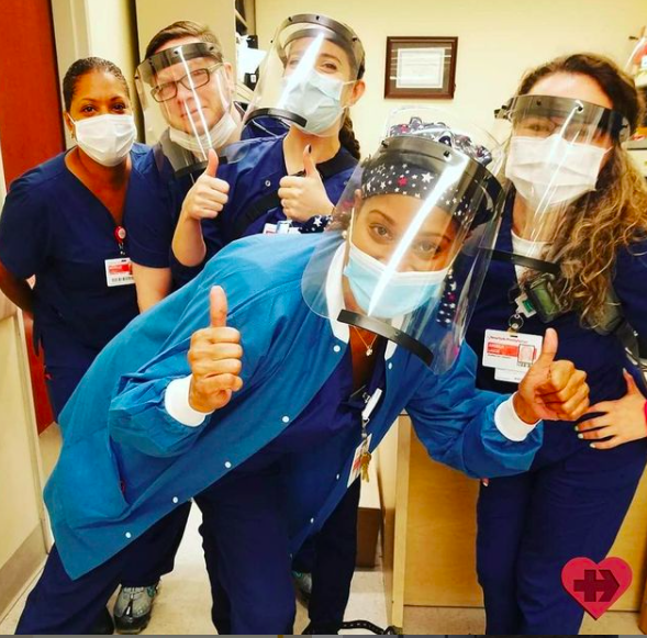 These brave healthcare workers are among the recipients of the 250,000 face shields JCRMRG has donated.